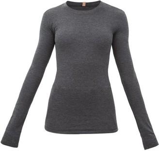 Lunya - Restore Cotton-blend Long-sleeve T-shirt - Womens - Dark Grey