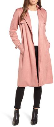 T Tahari Women's Car Coats TAUPE - Taupe Faux-Suede Mel Trench Coat & Self-Tie Belt - Women