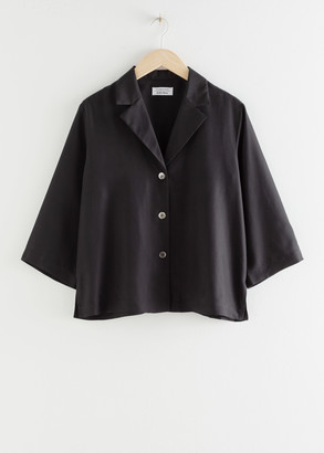 And other stories Silk Open Collar Boxy Shirt
