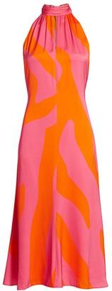 Milly Zebra Print Halter Midi Dress