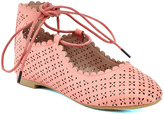Coral Perforated Ankle-Tie Flat