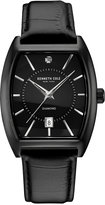 Kenneth Cole Men's Diamond Accent Ion-Plated Black Leather Strap Watch 48x38mm 10030820