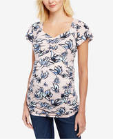 Motherhood Maternity Printed Flutter-Sleeve Top