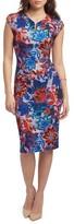 ECI Women's Print Notch Neck Sheath Dress