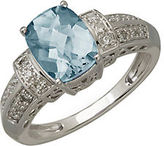 Lord & Taylor 14Kt. White Gold Diamond and Aqua Ring