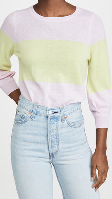 Autumn Cashmere Colorblock Puff Sleeve Cashmere Sweater