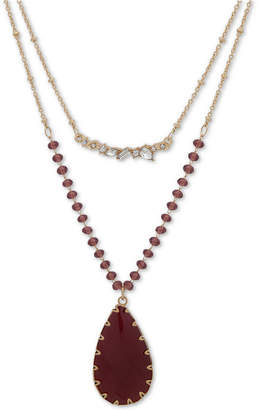"""lonna & lilly Gold-Tone Burgundy Bead & Stone Two-Row 32"""" Long Necklace"""