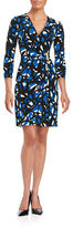 Calvin Klein Three-Quarter-Sleeve Printed Faux-Wrap Dress