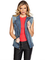 GUESS Mila Denim Moto Vest