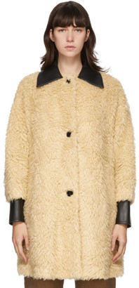 MM6 MAISON MARGIELA Beige Faux-Fur Shepard Coat