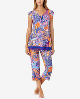 Ellen Tracy Contrast-Trimmed Printed Knit Pajama Top