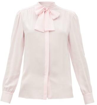 Giambattista Valli Pussy-bow Silk-crepe Blouse - Light Pink