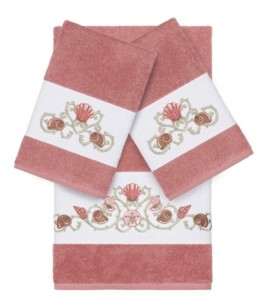 Linum Home Bella 3-Pc. Embroidered Turkish Cotton Bath and Hand Towel Set Bedding