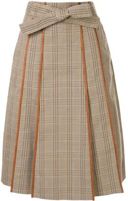 Tory Burch Plaid Print Pleated Skirt