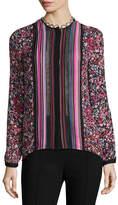 Elie Tahari Buffy Long-Sleeve Striped & Floral-Print Silk Blouse, Multi