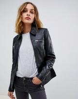 Muu Baa Muubaa Circle Zip Front Mottled Leather Jacket