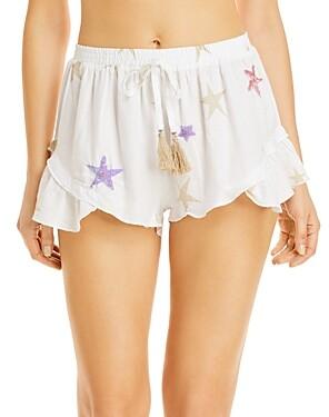 Surf.Gypsy Star Print Embellished Shorts Swim Cover-Up
