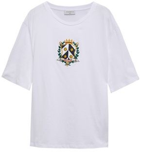 Sandro Satin-trimmed Embroidered Cotton-jersey T-shirt