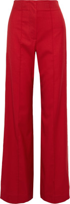 Jonathan Simkhai Snap-detailed Wool-blend Twill Wide-leg Pants