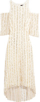 Tibi Bella Cutout Metallic Fil Coupé Silk-blend Maxi Dress - White