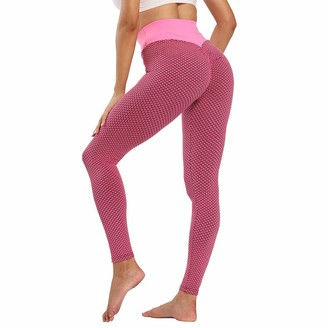 ZJXSNEH Women Honeycomb Leggings High Waist Yoga Pants Bubble Textured Scrunch Ruched Butt Lift Running Tights Black