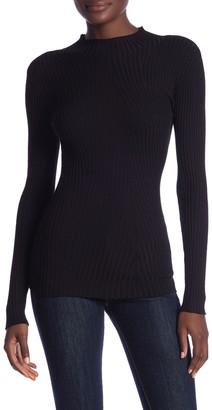 Vertigo High Neck Solid Rib Knit Sweater