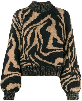Ganni tiger print jumper