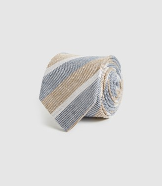 Reiss Leven - Cotton Silk Blend Striped Tie in Blue/white