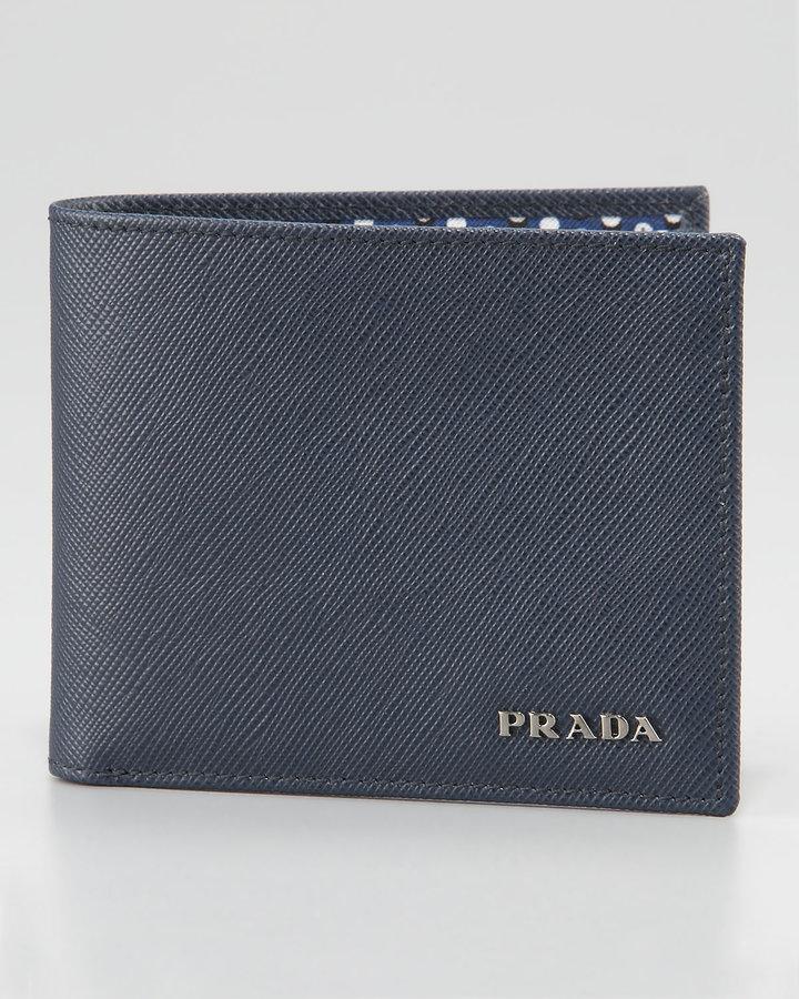 Prada Saffiano Bifold Wallet, Blue