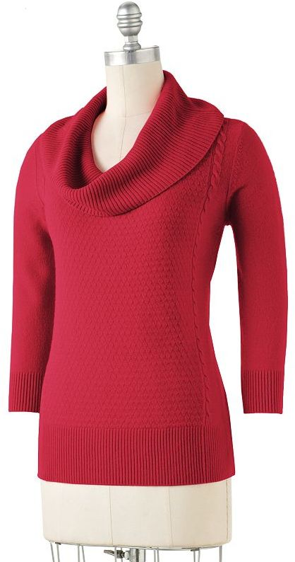 Requirements® cowlneck cable-knit sweater