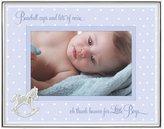 "Malden Baby Sentiments Boy Metal Shadowbox Silver Picture Frame, Blue Mat, 4"" x 6"" - Blue"