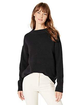 Lark & Ro Women's Boucle Mock Neck Oversized Sweater