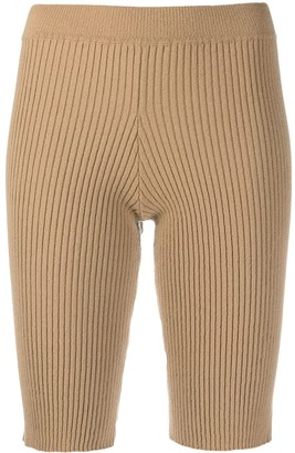 Ami Amalia Skin Tight Ribbed Knit Shorts