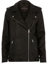 River Island Womens Black faux leather longline biker jacket