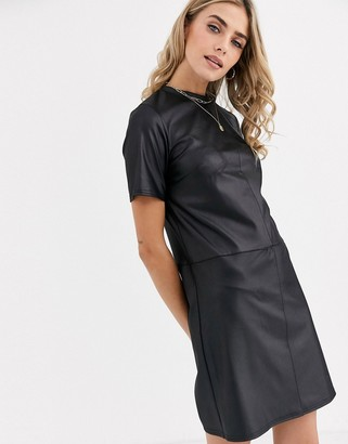 New Look pocket detail leather look smock dress in black
