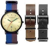Ted Baker 'Smart Casual' Leather & Canvas Strap Watch Set, 40mm