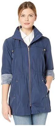 Tribal Coat w/ Detachable Hood (Navy Sea) Women's Clothing