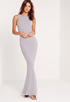 Missguided Low Back Maxi Dress Grey