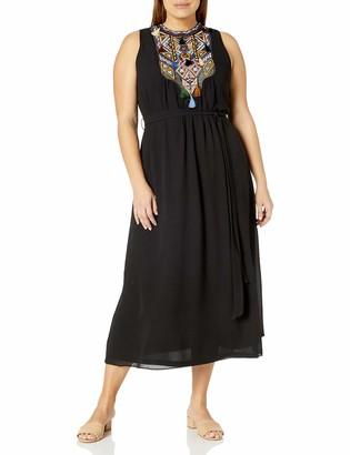 City Chic Women's Apparel Women's Plus Size Maxi Dress with Elasticated Waist and Embroidered Detail