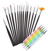 Hillento 20pcs Nail Art Design Brushes Styling Dotting Painting Drawing Pen Tools Set, Brushes
