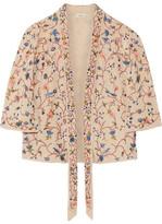 Talitha - Phulkari Cropped Embroidered Silk Jacket - Ecru