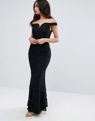 Little Mistress Lace Bardot Maxi Dress-Black
