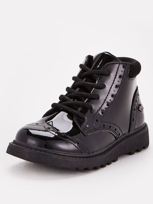 Very ToeZone at Younger Girls Chunky Sole Lace Up School Boot - Black