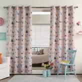 Decorinnovation Alphabet 63-Inch Room Darkening Grommet Top Window Curtain Panel Pair in Pink