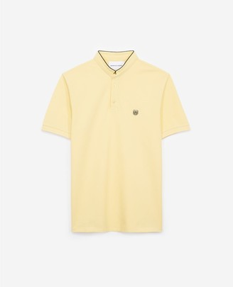 The Kooples Embroidered yellow polo shirt with stand-up collar