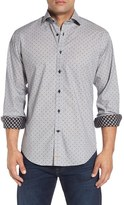 Thomas Dean Men's Classic Fit Dobby Dot Sport Shirt