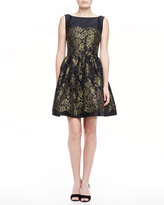 Monique Lhuillier Sleeveless Lace Dress with Full Skirt