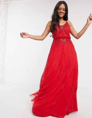Lace & Beads embellished maxi dress in red