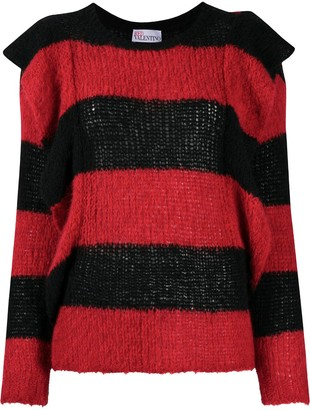 RED Valentino Ruffled Striped Crew Neck Jumper