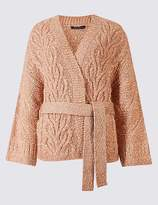 Marks and Spencer Cotton Blend Textured Long Sleeve Cardigan